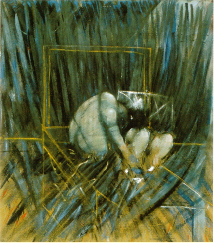Two figures in the grass Francis Bacon